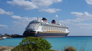 The Disney Cruise ship docked at Castaway Cay
